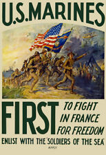 More details for w35 vintage wwi us marines army enlist recruitment war poster ww1 a1 a2 a3