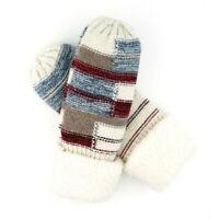 Women's Mittens Sherpa Cuff Patchwork Knit Thick Fleece Winter Glove Cozy