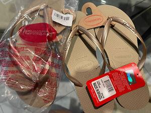 Havaianas Slim Brazil Women's Flip Flops Light Gold Size US-7/8 EUR-37/38