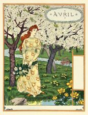 Postcard: Nouveau Print Repro - Grasset - April - Woman, Blooming Trees, Spring