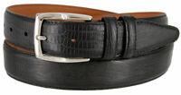 "Lizard Embossed Genuine Leather Dress Belt 1 3/8"" WIDE BLACK - Made in U.S.A"