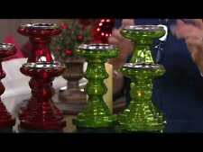 Valerie Parr Hill S/3 Illuminated Mercury Glass Candle Holder Pedestals RED