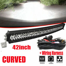 "3 Row 42"" LED Curved Light Bar + Wire For Dodge Ram 1500 2500 3500 Bumper PK44''"