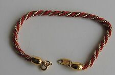 Vintage Trifari Gold Plated Red Thread Chain Bracelet 7""
