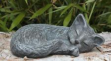 Steinfigur Katze schlafend Schiefergrau Mieze Dekofigur Gartenfigur Gartendeko