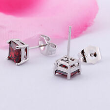 Square Stud Earrings For Women Girls Authentic Silver White Gold plated Red Ruby