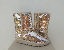 UGG CLASSIC SHORT GOLD SEQUIN SPARKLE SHEEPWOOL BOOTS, WOMEN US 7/ EUR 38 ~ NIB