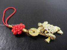 Gold Feng Shui Chinese Lucky Car/Key/Ring Charm Money Coin Frog Toad Figurine #G