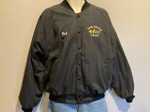 Men's HARTWELL SPORTS Arrow Trucking Co Tulsa OK Black Bomber Jacket USA Made XL