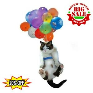 Cute Cat Car Hanging Ornaments with Colorful Balloons Hanging Ornaments Decors