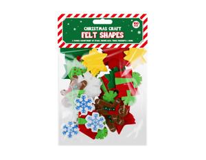 100 x CHRISTMAS CRAFT FELT SHAPES sticky stars gingerbread men snowflkes