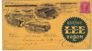 US 1901 ADV ALL OVER LEE BROOM DUSTER CO LINCOLN NEBRASKA TO COLORADO SPRING COL