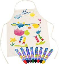 Werkenschürze Kochschürze mit Namen bestickt zum Anmalen inkl. Stifte Kinder