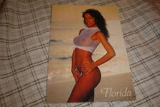 Sexy PinUp Fishnet Bikini Girl Postcard Florida Sunshine Beach Bunny Photo Card