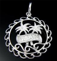 STERLING SILVER 925 GUAM HAWAIIAN PALM TREE CIRCLE PENDANT