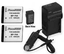 2 Batteries + Charger for Samsung BP-70A BP70A EA-BP70A