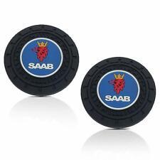 2pcs Silicone Black Soft  Car Cup Holder Pad Mat Coaster For SAAB Anti-Slip