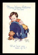 Children Puppy Dog Beratrice Mallet drawn Birthday Tuck Oilette #3607 Comic PPC
