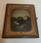 ANTIQUE POST MORTEM 1/6 PLATE AMBROTYPE OF YOUNG GIRL IN PLAID DRESS
