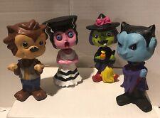 Spring Neck Halloween Figurine Set Of 4 Wolf man Dracula Mrs Frankenstein Witch