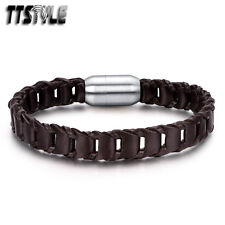 TTstyle DEEP Genuine Leather 316L Stainless Steel Magnet Buckle Wristband NEW