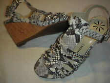 Isaac Mizrahi Live Simmer Leather Strappy Wedge Heel Sandals Womens 10 M  Snake + f9a8c2d92