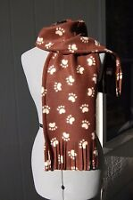 Paw Print Brown and Cream Fleece Scarf