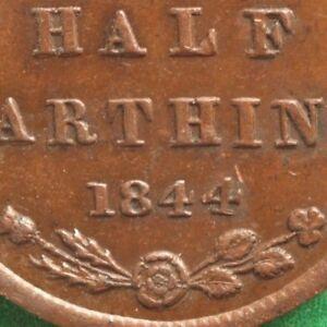 1844 Queen Victoria Half farthing 1/2 1/4 Slanting 4 in date SNo47320