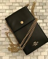 COACH Snap Phone Leather Chain Crossbody Pouch Wallet ~NWT~ Black 76363