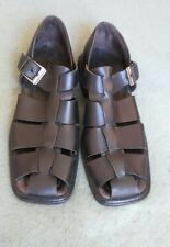 Kenneth Cole Size 11D Mens Black Leather Fisherman Sandals Shoes Made in Italy
