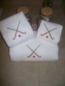 Field hockey sticks -3 piece Embroidered Personalized bath towel set