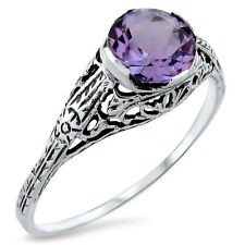 GENUINE BRAZILIAN AMETHYST ANTIQUE DESIGN 925 STERLING SILVER RING SIZE 9, #399