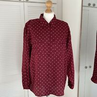 Nexx 100% Silk Blouse Size XL Maroon Spotted Paisley Pattern Button Up Ethnic