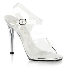 """4"""" Clear Pageant Prom Bridal Fitness Competition Heels NO Platform Shoes 7 8 9"""