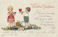 Vintage Postcard Valentine Gardening Children Girl with Doll