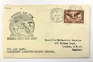 1938 Canadian First Flight Commemorative Covers Germansen Ldg-Prince George 873B