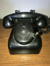 VINTAGE ANTIQUE LEICH BLACK BAKELITE DESK TELEPHONE CRANK RINGER