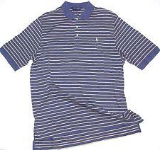 Men's Ralph Lauren POLO GOLF Polo Shirt L Navy Blue Yellow Stripe 100% Cotton