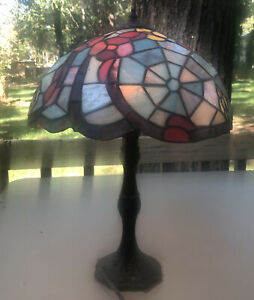 Vintage Tiffany Style Table Desk Lamp Stained Glass