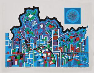 CITY #370 Architecture Translated to Beautiful Art Serigraph By Risaburo Kimura