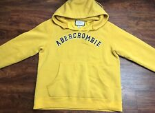 ABERCROMBIE Women's Mustard Yellow Ripped V-Neck Hoodie Size Small Regular