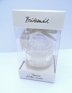 BRIDESMAID GIFT-JASMINE SCENTED CANDLE in a glass lidded jar in GIFT BOX-NEW