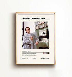American Psycho Movie Print, Minimal Movie Print, Retro Movie Wall Art, Movie Pr