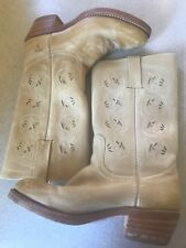 Frye Womens size 8 Cowboy Boots Tan light pink cut outs 77036