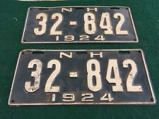 1924 Antique New Hampshire Pair of License Plates