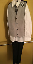 George Boys' Heathered Vest and Polka Dot Shirt w/Tie Pants Outfit Set Size 14