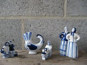 Vintage USSR Gzhel Porcelain Figurines Bundle