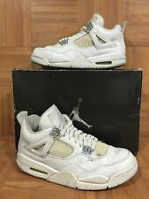 RARE🔥 Nike Air Jordan 4 IV Retro PURE💲White Metallic Silver 8.5 308497-102