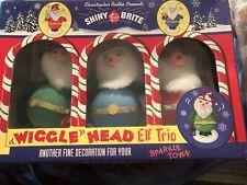 Radko Shiny Brite Wiggle Head Elf Trio Christmas Figurines In Box FREE SHIP USA