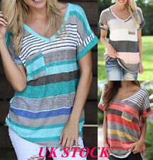 UK Women Summer Short Sleeve T-shirt Loose Striped V Neck Tops Blouse Plus Size